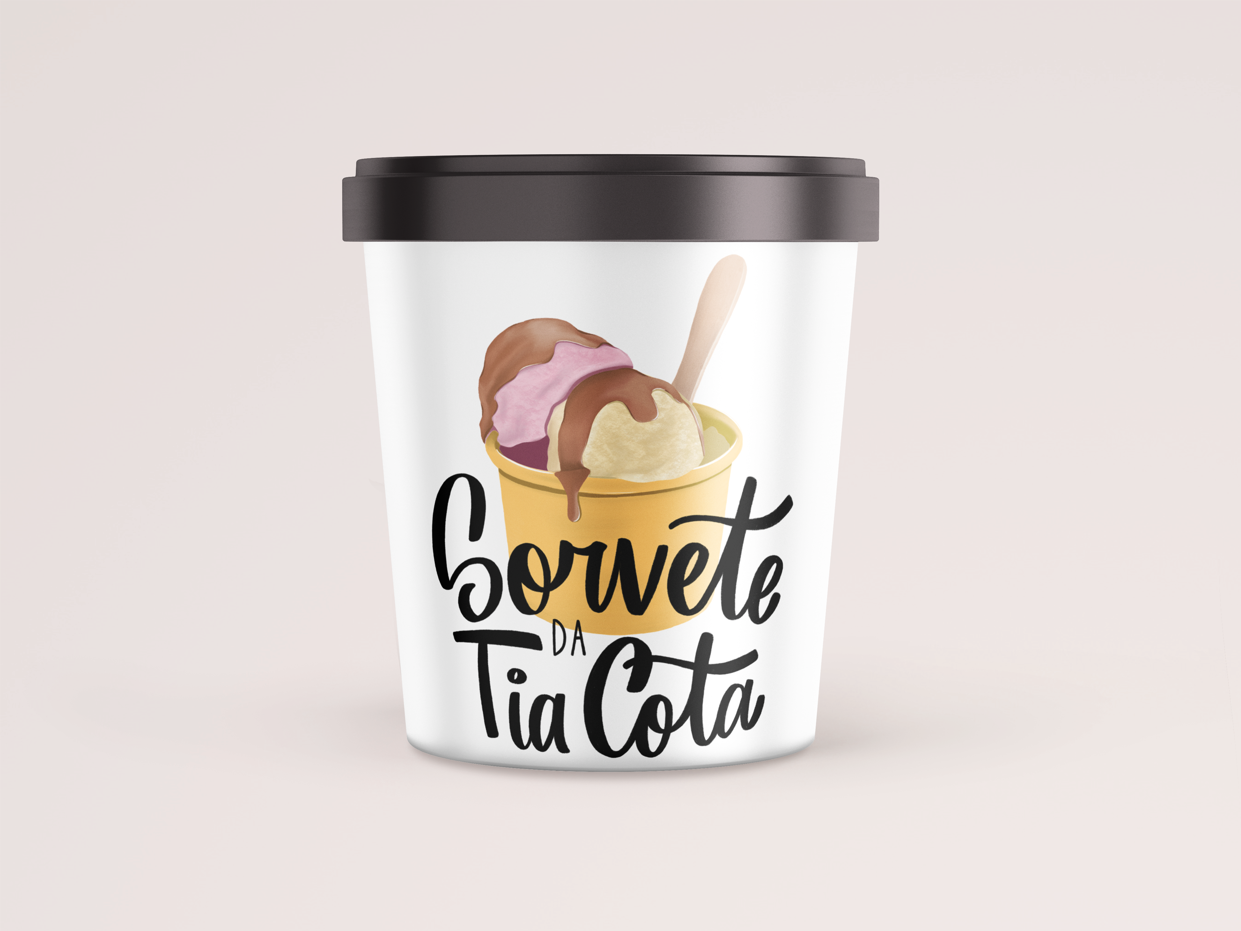 ice cream container with logo of an ice cream illustration